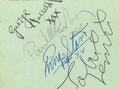 1963 Beatles Autograph Examples